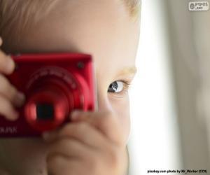 Puzle Criança com câmera fotográfica