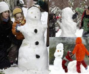 Puzle Crianças brincando com um boneco de neve