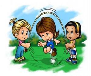Puzle Crianças brincando no pular corda ou saltar corda