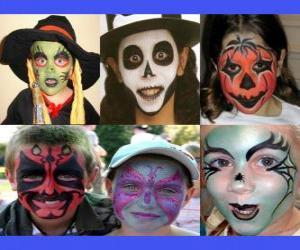 Puzle Crianças de maquiagem para o Halloween