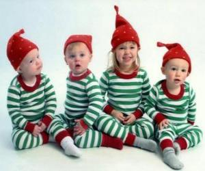 Puzle Crianças vestidas para o Natal