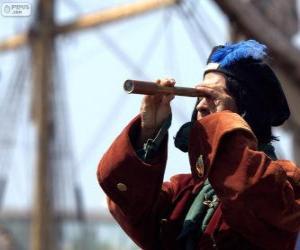 Puzle Cristóvão Colombo chegou ao novo mundo, a descoberta das Américas