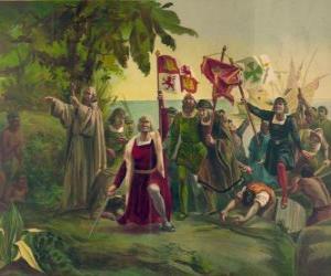 Puzle Cristóvão Colombo com a espada toma posse das novas terras