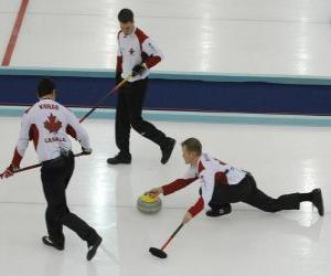 Puzle Curling é um esporte de precisão similar a taças ou Inglês boccia, realizado em uma pista de gelo.