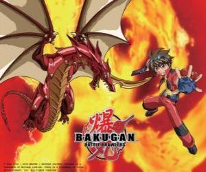 Puzle Dan Kuso e seu guardião Bakugan Pyrus Drago