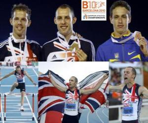 Puzle David Greene campeão 400m com barreiras, Rhys Williams e Stanislav Melnykov (2 e 3) do Campeonato Europeu de Atletismo de Barcelona 2010