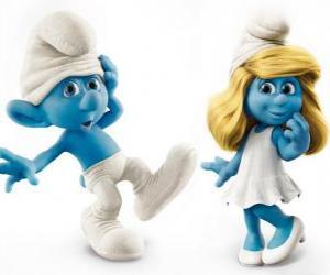 Puzle Desastrado e Smurfette, personagens do filme Os Smurfs
