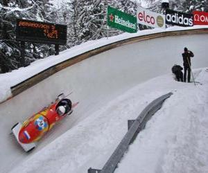 Puzle Descenso em bobsleigh ou bobsled de dupla