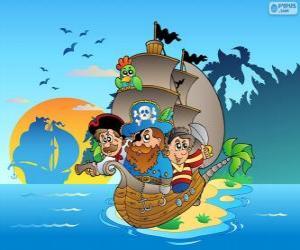 Puzle Desenho de navio pirata