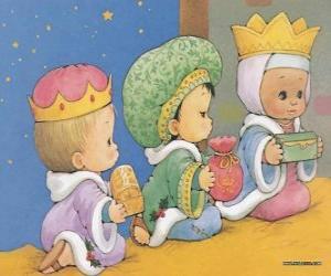 Puzle Desenho de três crianças vestidas como os Três Reis do Oriente