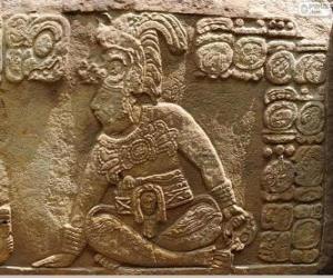Puzle Desenhos maias esculpidos em uma pedra