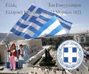 Puzle Dia da Independência da Grécia, de 25 de marco de 1821. Guerra da Independência ou Revolução grega