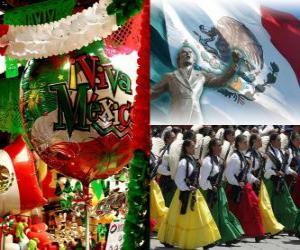 Puzle Dia da Independência do México. Comemora o 16 de setembro de 1810, o início da luta contra o domínio espanhol