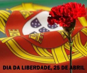 Puzle Dia da Liberdade, 25 de abril, feriado nacional em Portugal para comemorar a Revolução dos Cravos de 1974