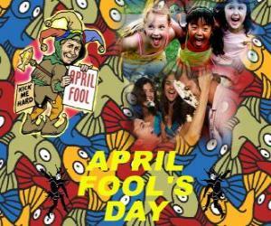 Puzle Día da Mentira ou Dia dos Bobos comemorado em 01 de abril dedicado a piadas em muitos países