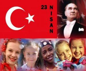 Puzle Dia da Soberania Nacional e o Dia da Criança é comemorado na Turquia em 23 de Abril
