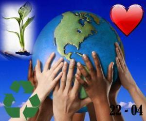 Puzle Dia da Terra, 22 de abril. Um mundo feliz, um mundo de reciclagem e de amor para o meio ambiente