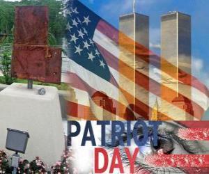 Puzle Dia do Patriota, 11 de setembro nos Estados Unidos, em memória dos ataques de 11 setembro de 2001