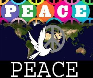 Puzle Dia Internacional da Paz. Dia Mundial da Paz. 21 de setembro é dedicado à paz e à ausência de guerra