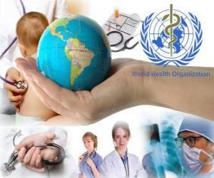Puzle Dia Mundial da Saúde, em comemoração da fundação da OMS em 7 de abril de 1948