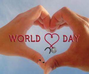 Puzle Dia Mundial do Coração, no último domingo de setembro são organizadas atividades para melhorar a saúde e reduzir os riscos