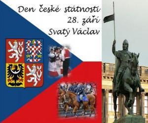 Puzle Dia Nacional Checa. 28 de setembro de São Venceslau, padroeiro da República Checa