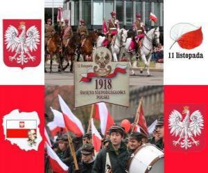 Puzle Dia Nacional da Polônia, 11 de Novembro. Comemoração da Independência da Polônia em 1918