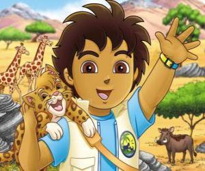 Puzle Diego e o Bebê Jaguar ajudar os animais em perigo na serie Go, Diego, Go!
