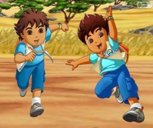 Puzle Diego Marquez, um menino aventureiro que ajuda os animais em perigo