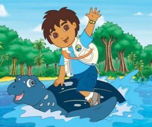 Puzle Diego no mar na carapaça de uma tartaruga marinha
