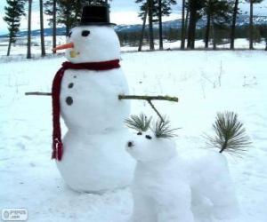 Puzle Dois bonecos de neve