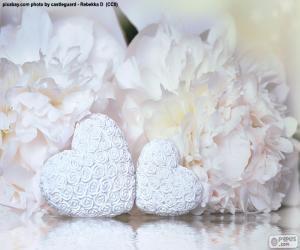 Puzle Dois corações brancas