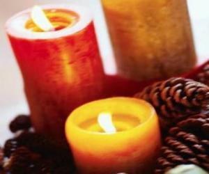 Puzle Dois grandes velas de Natal acesas