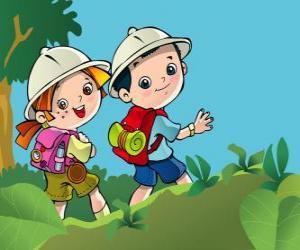 Puzle Dois  jovens exploradores em uma expedição