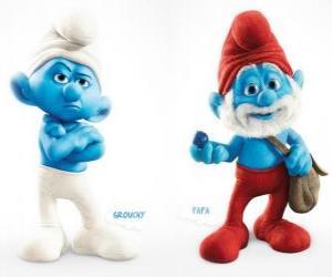 Puzle Dois personagens do filme Os Smurfs - Ranzinza  e Papai Smurf -