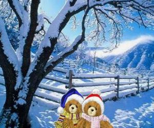 Puzle dois ursos muito quente em uma paisagem de Natal