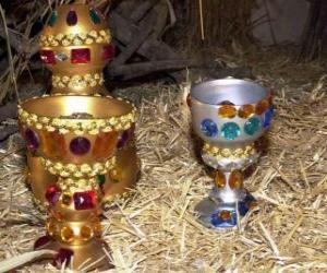 Puzle Donativos dos Reis Magos, ouro, incenso e mirra para o Menino Jesus
