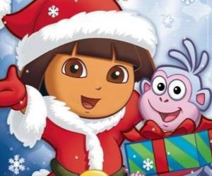 Puzle Dora a aventureira deseja-lhe boas festas de Natal