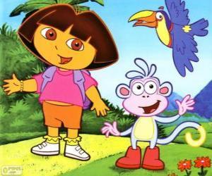 Puzle Dora a aventureira e seu amigo macaco Botas