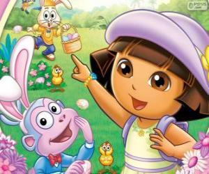 Puzle Dora a aventureira na Páscoa