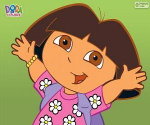 Puzle Dora, a aventureira ou Dora a exploradora com uma camisa com flores