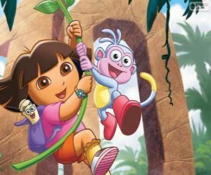 Puzle Dora e Botas em uma de suas aventuras