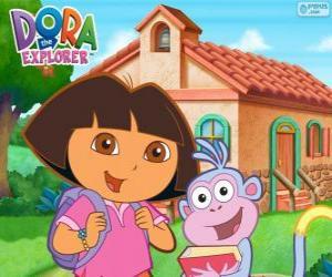 Puzle Dora e Botas vão para a escola