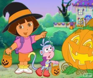 Puzle Dora e o macaco Botas comemorar o Halloween