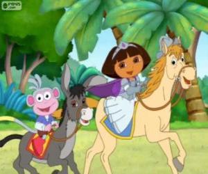 Puzle Dora e seu macaco botas de equitação