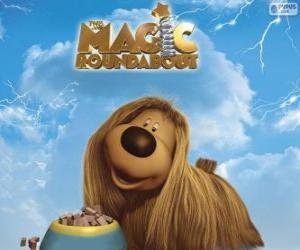 Puzle Dougal, o cão de cabelos compridos do filme Franjinhas e o Carrossel Mágico