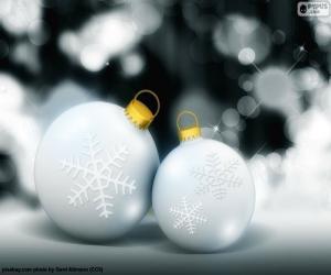 Puzle Duas bolas brancas de Natal