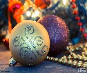 Puzle Duas bolas elegantes Natal