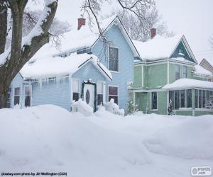 Puzle Duas casas cobertas de neve