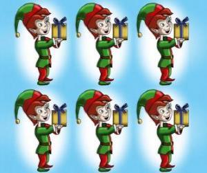Puzle Duende ou elfo de Natal transportando a caixa dum presente